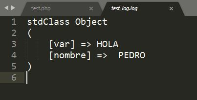 error_log - salida de un objeto en fichero de log