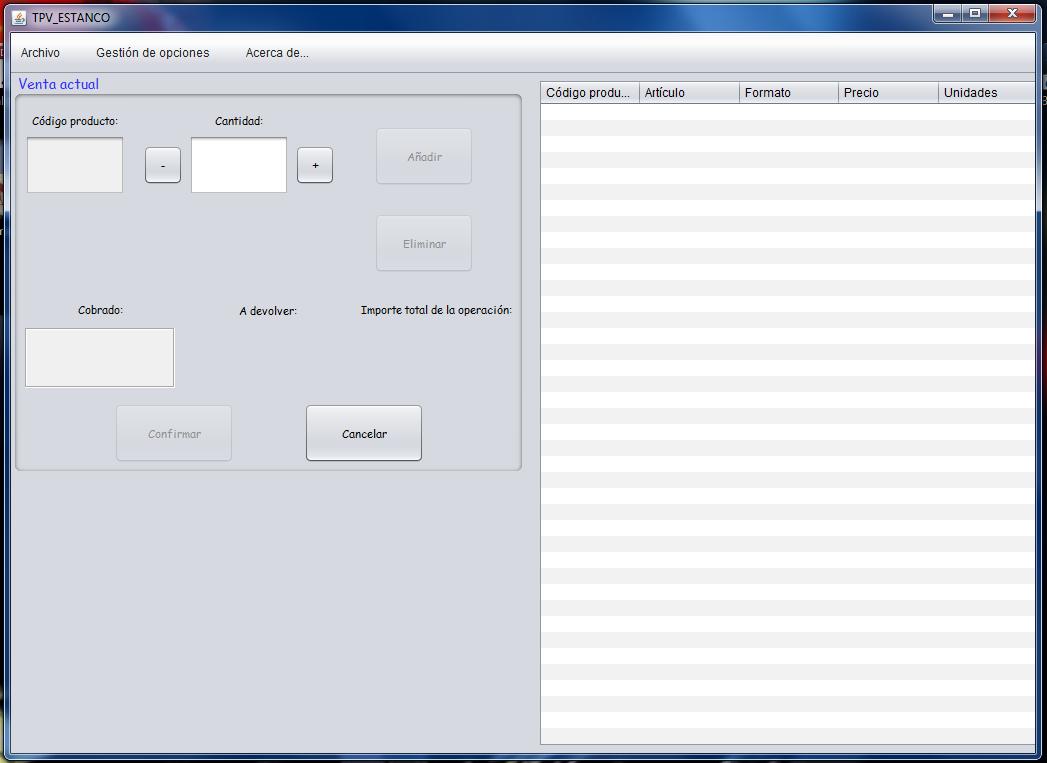 Imagen:Menú principal de la aplicación inicial que ha sido probada por los usuarios